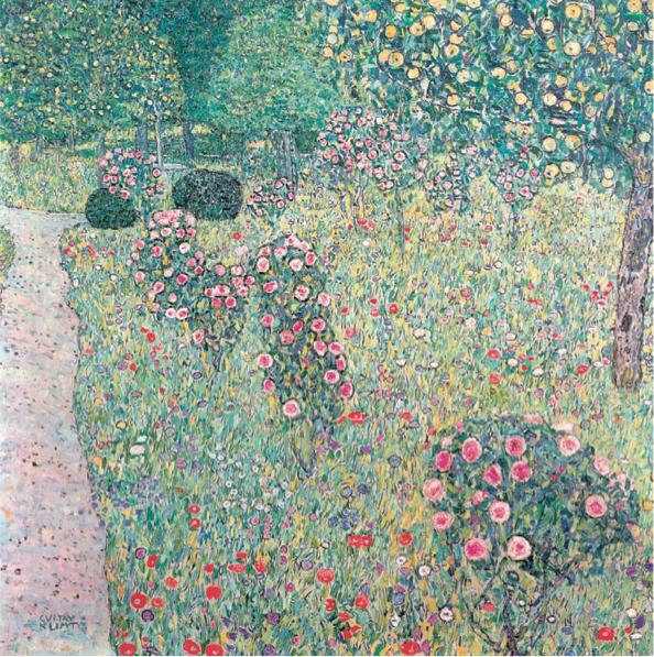 Leinwandbild Obstgarten mit Rosen Gustav Klimt