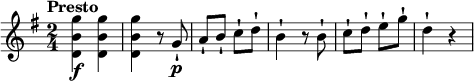 \relative c'' {   \version &quot;2.18.2&quot;   \key g \major   \time 2/4   \tempo &quot;Presto&quot;    \tempo 4 = 130  <d, b' g'>4\f <d b' g'>  <d b' g'> r8 g\p-!  a-! b-! c-! d-!   b4-! r8 b8-!  c-! d-! e-! g-!  d4-! r   }