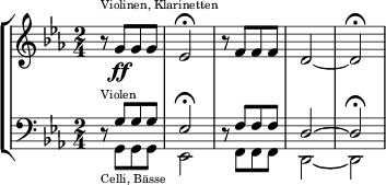 \new StaffGroup <<   \new Staff = &quot;ViolinenKlarinetten&quot; \relative c'' {     \clef &quot;treble&quot;     \key c \minor     \time 2/4     r8^\markup { \teeny &quot;Violinen, Klarinetten&quot; } g[\ff g g] |     es2\fermata |     r8 f[ f f] |     d2~ |     d\fermata   }    \new Staff = &quot;ViolenCelli&quot; \relative c' {     \clef &quot;bass&quot;     \key c \minor     \time 2/4     r8^\markup { \teeny Violen }_\markup { \teeny &quot;Celli, Bässe&quot; }     <<       {         \voiceOne         g[ g g] |         es2\fermata       }       \       {          \voiceTwo         g,8[ g g] |         es2       }     >>     \oneVoice |     r8     <<       {         \voiceOne         f'[ f f] |         d2~ |         d\fermata       }       \       {         \voiceTwo         f,8[ f f] |         d2~ |         d       }     >>   }  >>