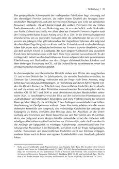 Bild der Seite - 15 - in Der sogenannte Antiquus Austriacus und weitere auctores antiquissimi - Zur ältesten Überlieferung römerzeitlicher Inschriften im österreichischen Raum
