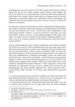 Bild der Seite - 143 - in Der sogenannte Antiquus Austriacus und weitere auctores antiquissimi - Zur ältesten Überlieferung römerzeitlicher Inschriften im österreichischen Raum