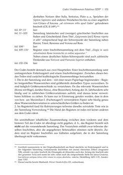 Bild der Seite - 151 - in Der sogenannte Antiquus Austriacus und weitere auctores antiquissimi - Zur ältesten Überlieferung römerzeitlicher Inschriften im österreichischen Raum