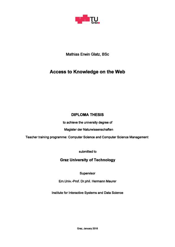 Bucheinband von Access to Knowledge on the Web