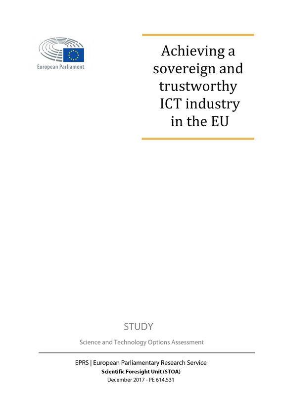 Bucheinband von 'Achieving a sovereign and trustworthy ICT industry in the EU'