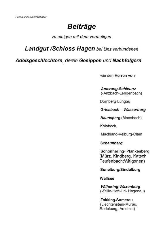 Bucheinband von 'Adelsgeschlechter Hagen'