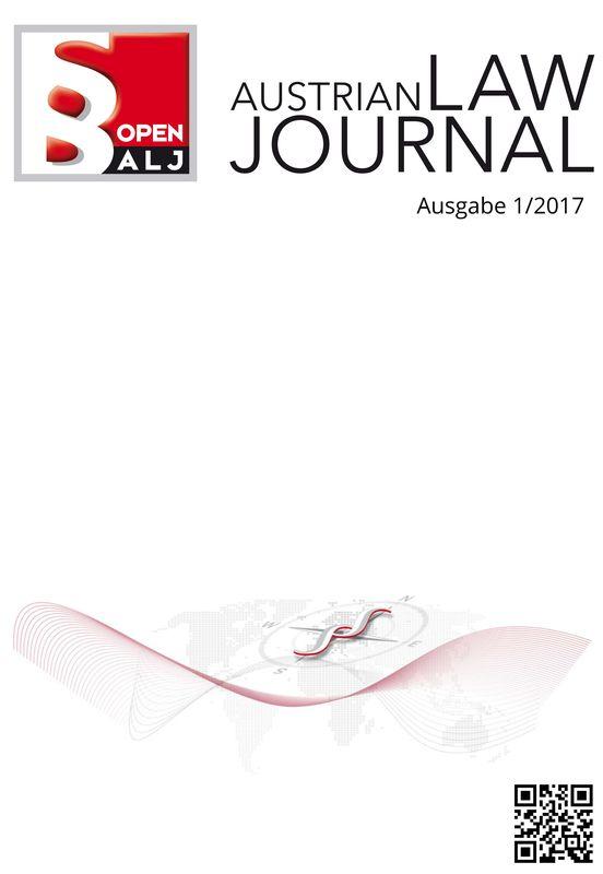 Bucheinband von 'Austrian Law Journal, Band 1/2017'