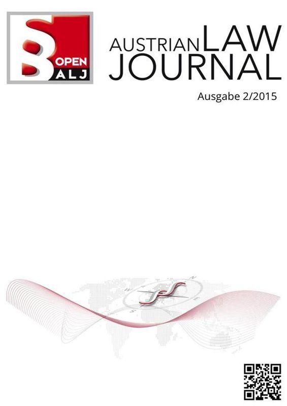 Bucheinband von 'Austrian Law Journal, Band 2/2015'