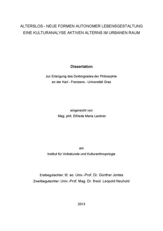 Cover of the book 'Alterslos - Neue Formen autonomer Lebensgestaltung - Eine Kulturanalyse aktiven Alterns im urbanen Raum'
