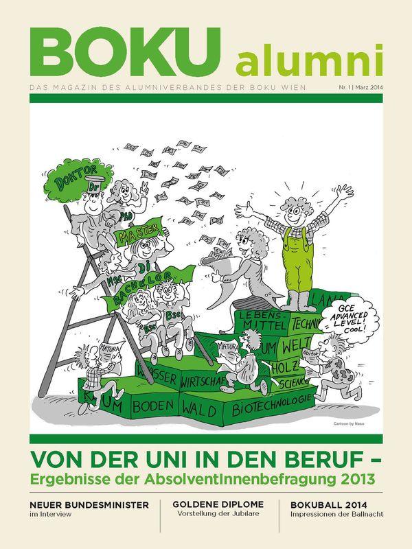 Bucheinband von 'Alumni - Das Magazin des Alumniverbandes der Universität für Bodenkultur Wien, Band 1/2014'