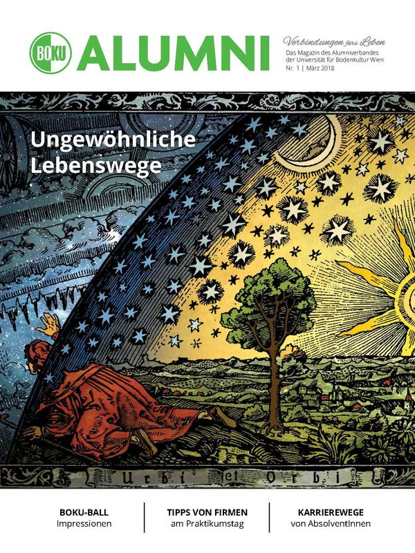Bucheinband von 'Alumni - Das Magazin des Alumniverbandes der Universität für Bodenkultur Wien, Band 1/2018'