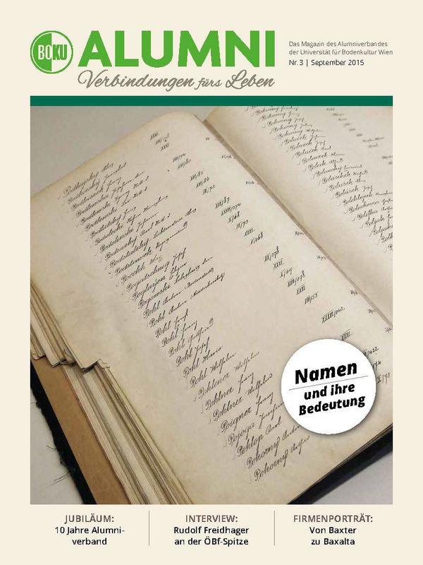 Bucheinband von 'Alumni - Das Magazin des Alumniverbandes der Universität für Bodenkultur Wien, Band 3/2015'