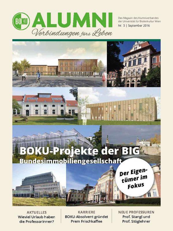 Bucheinband von 'Alumni - Das Magazin des Alumniverbandes der Universität für Bodenkultur Wien, Band 3/2016'