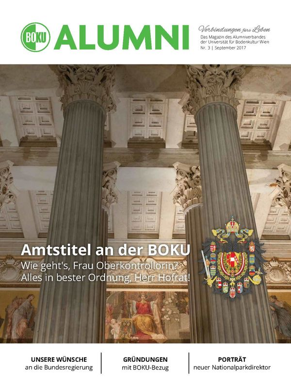 Cover of the book 'Alumni - Das Magazin des Alumniverbandes der Universität für Bodenkultur Wien, Volume 3/2017'