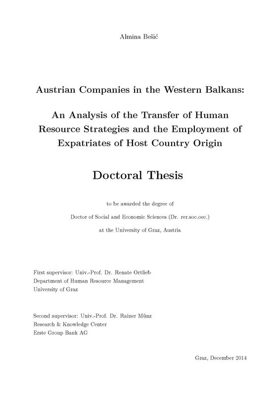 Bucheinband von 'Austrian Companies in the Western Balkans - An Analysis of the Transfer of Human Resource Strategies and the Employment of Expatriates of Host Country Origin'
