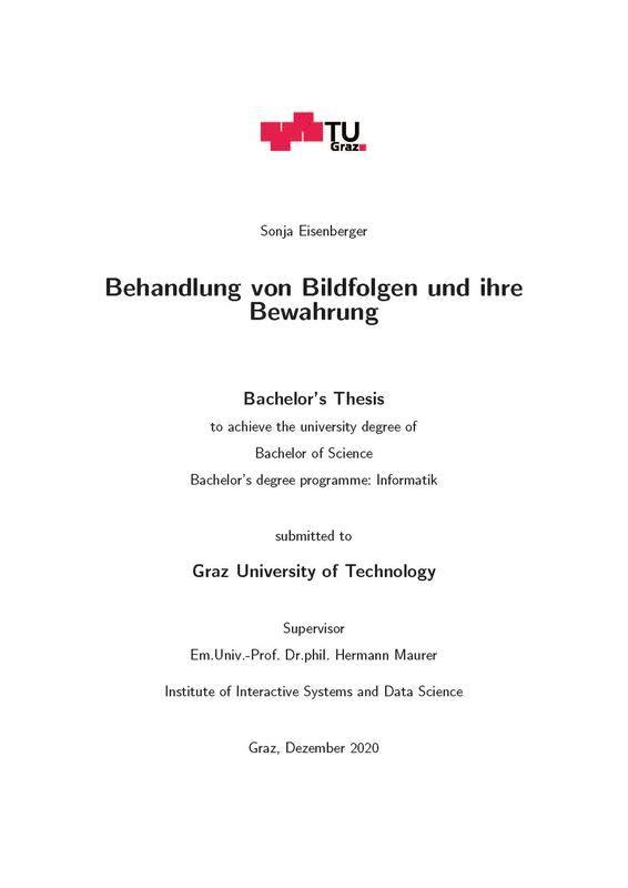 Cover of the book 'Behandlung von Bildfolgen und ihre Bewahrung'