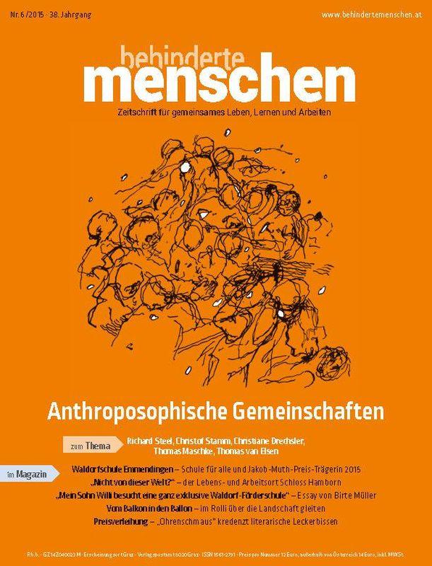 Bucheinband von 'Behinderte Menschen - Zeitschrift für gemeinsames Leben, Lernen und Arbeiten, Band 6/2015'