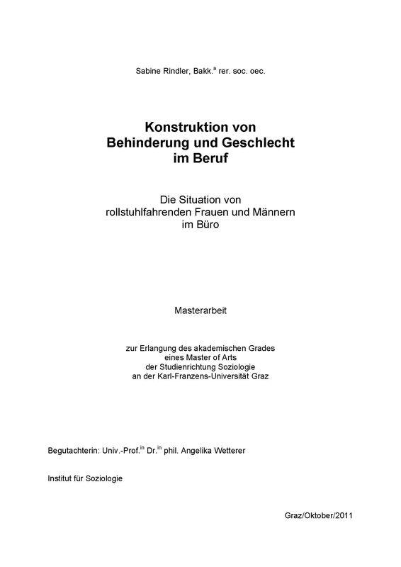 Bucheinband von 'Konstruktion von Behinderung und Geschlecht im Beruf - Die Situation von rollstuhlfahrenden Frauen und Männern im Büro'