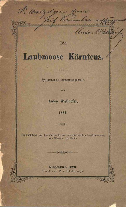 Bucheinband von 'Die Laubmoose Kärntens'