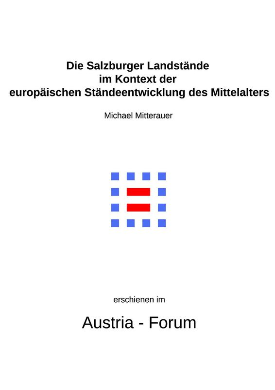 Bucheinband von 'Die Salzburger Landstände im Kontext der europäischen Ständeentwicklung des Mittelalters'