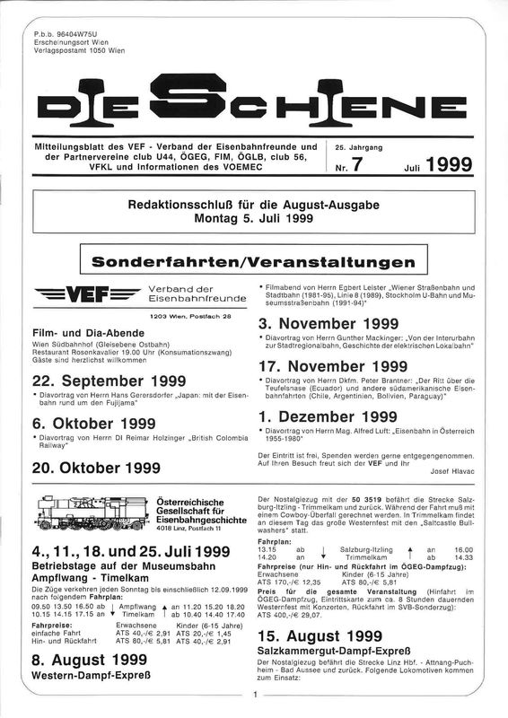 Bucheinband von Die Schiene, Band 25/07