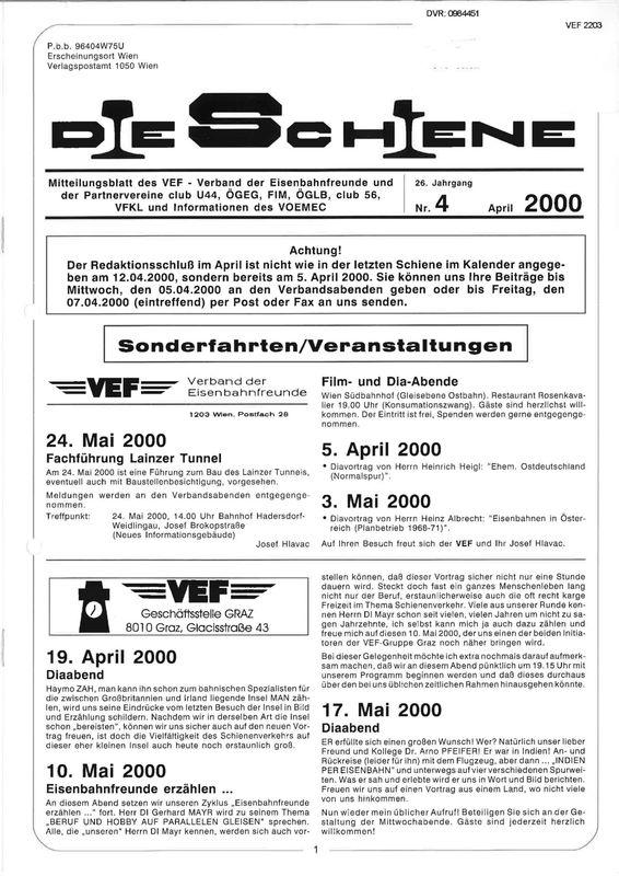 Bucheinband von Die Schiene, Band 26/04