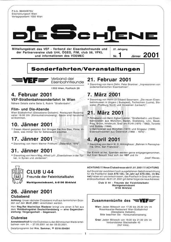Bucheinband von Die Schiene, Band 27/01