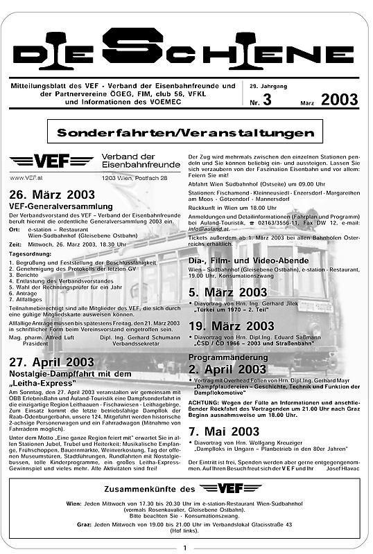 Bucheinband von Die Schiene, Band 29/03