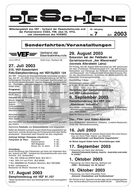Bucheinband von Die Schiene, Band 29/07