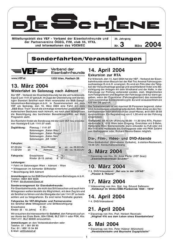 Bucheinband von Die Schiene, Band 30/03