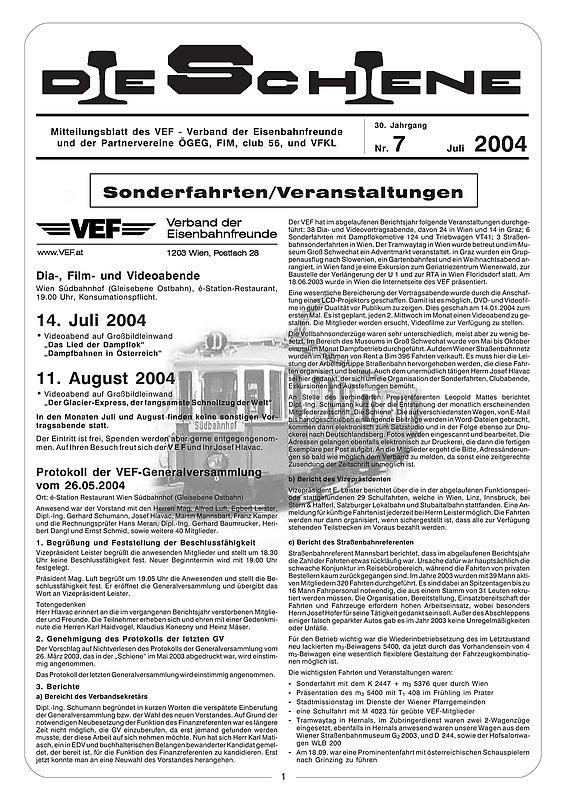 Bucheinband von Die Schiene, Band 30/07