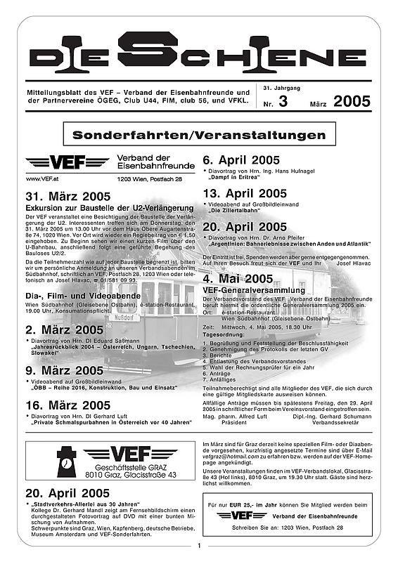 Bucheinband von Die Schiene, Band 31/03