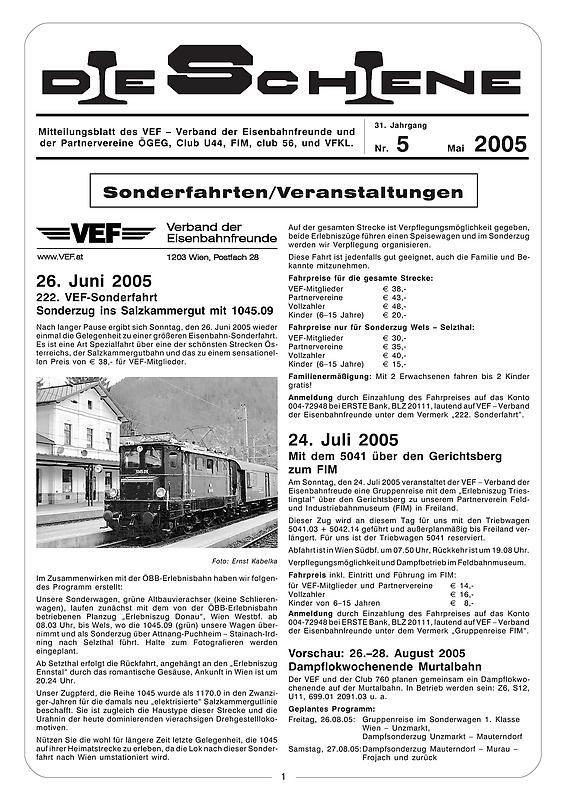 Bucheinband von Die Schiene, Band 31/05