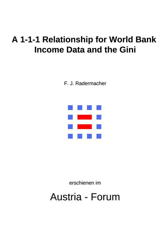 Cover of the book 'A 1-1-1 Relationship for World Bank Income Data and the Gini'