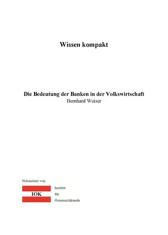 Bucheinband von 'Wissen kompakt - Die Bedeutung der Banken in der Volkswirtschaft'
