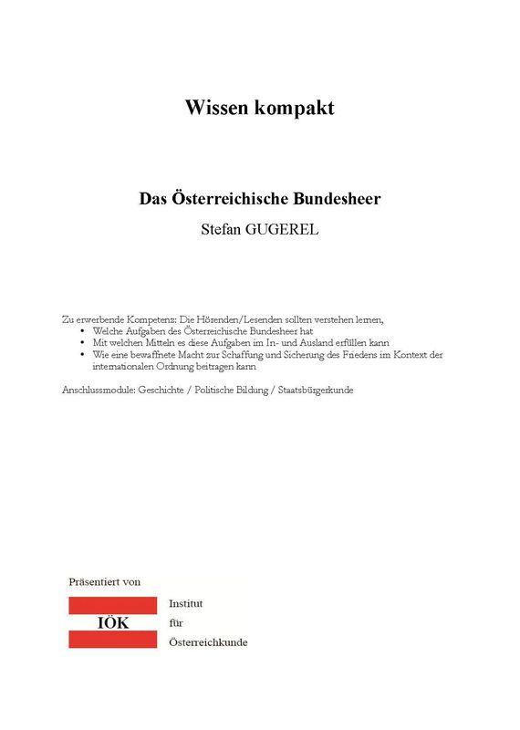Bucheinband von 'Wissen kompakt - Das Österreichische Bundesheer'
