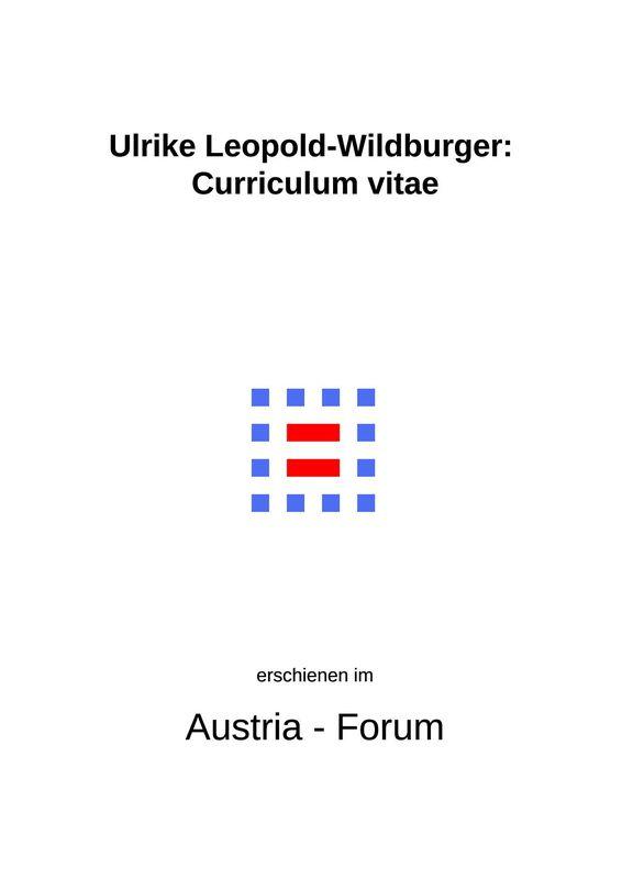 Bucheinband von 'Ulrike Leopold-Wildburger: Curriculum vitae'
