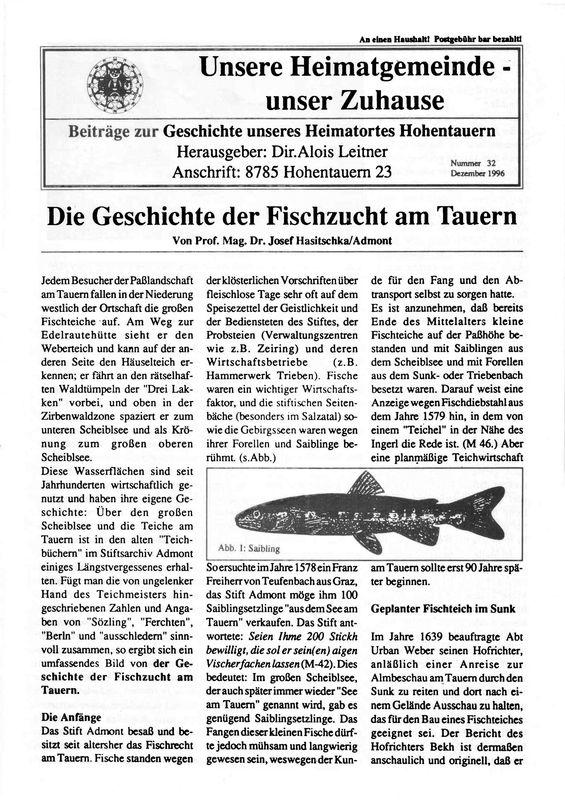 Bucheinband von 'Die Geschichte der Fischzucht am Tauern, Band 32'