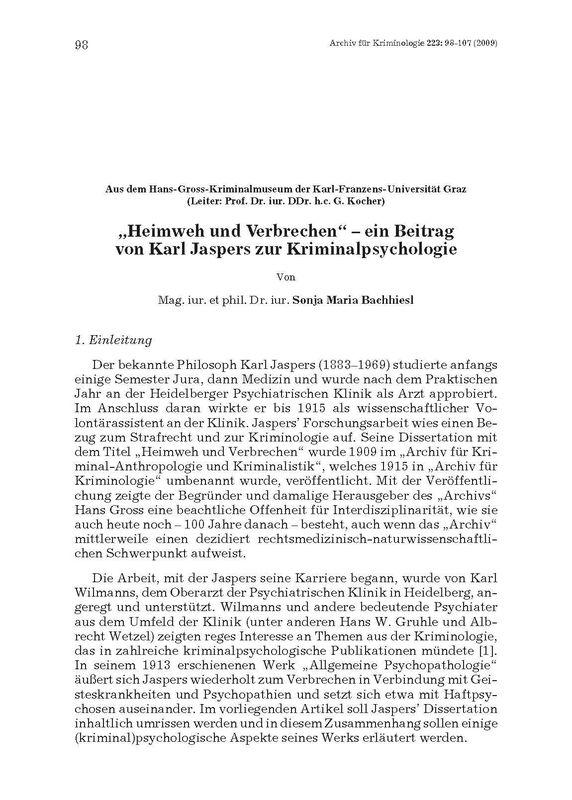 """Bucheinband von '""""Heimweh und Verbrechen"""" – ein Beitrag von Karl Jaspers zur Kriminalpsychologie'"""