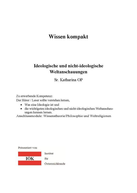 Bucheinband von 'Wissen kompakt - Ideologische und nicht-ideologische Weltanschauungen'