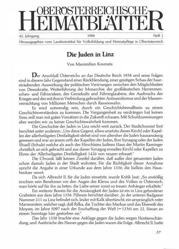 Bucheinband von 'Die Juden in Linz'
