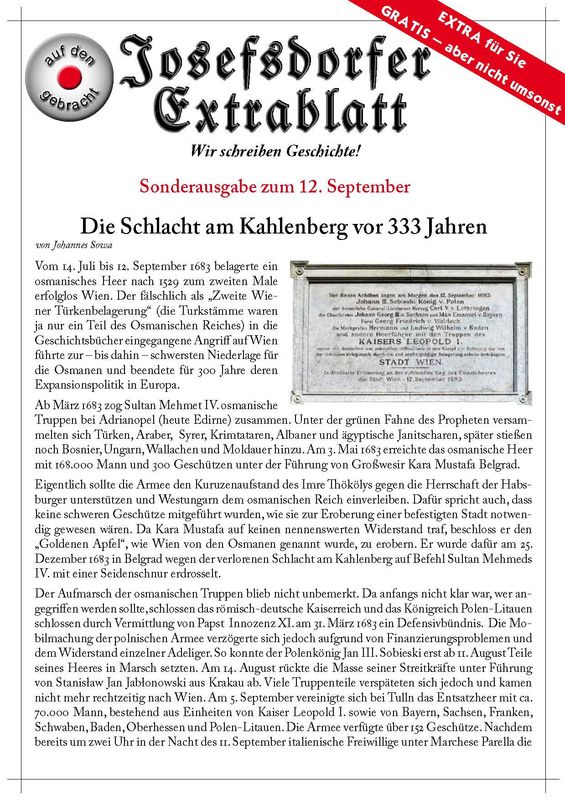 Bucheinband von 'Die Schlacht am Kahlenberg vor 333 Jahren'