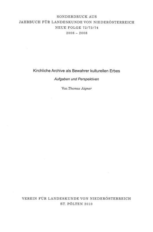 Cover of the book 'Kirchliche Archive als Bewahrer kulturellen Erbes - Aufgaben und Perspektiven'