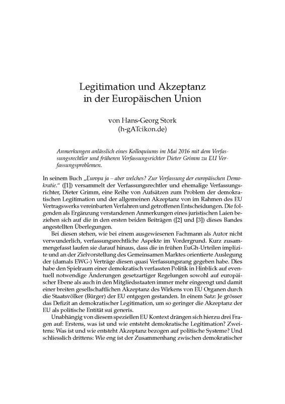 Bucheinband von 'Legitimation und Akzeptanz in der Europäischen Union'
