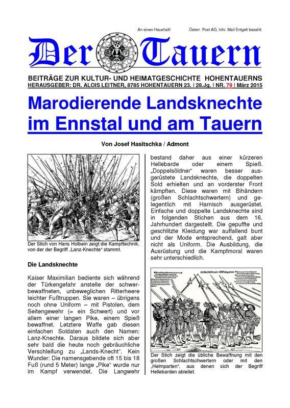 Bucheinband von 'Marodierende Landsknechte im Ennstal und am Tauern, Band 79'