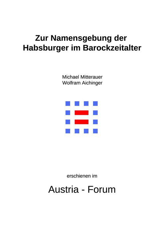 Bucheinband von 'Zur Namensgebung der Habsburger im Barockzeitalter'