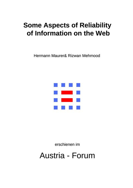 Bucheinband von 'Some Aspects of Reliability of Information on the Web'