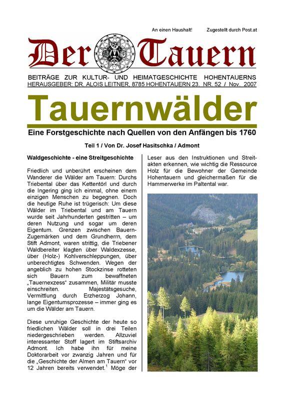 Bucheinband von 'Tauernwälder - Eine Forstgeschichte nach Quellen von den Anfängen bis 1760, Band 52'