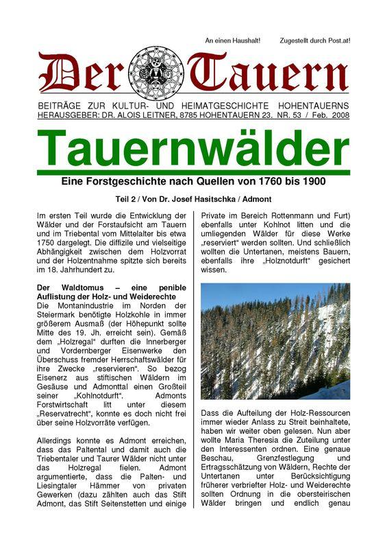 Bucheinband von 'Tauernwälder - Eine Forstgeschichte nach Quellen von 1760 bis 1900, Band 53'