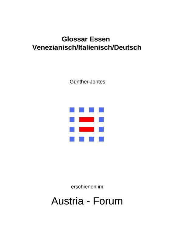 Bucheinband von 'Glossar Essen - Venezianisch/Italienisch/Deutsch'