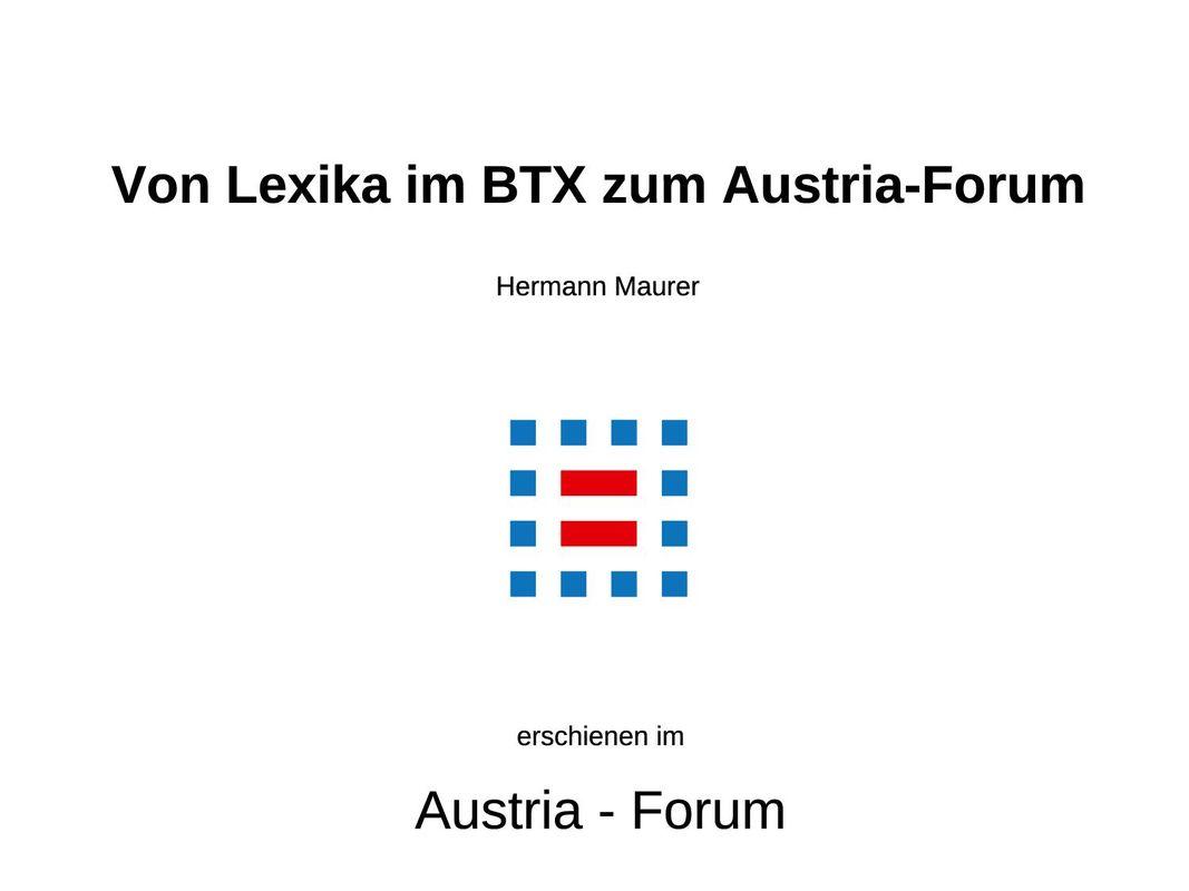 Cover of the book 'Von Lexika im BTX zum Austria-Forum'